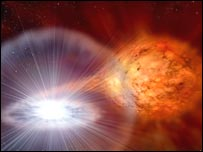 Artist's impression of the explosion of RS Ophiuchi. (Image: David A.Hardy/www.astroart.org &amp; PPARC).