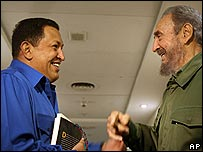Venezuelan President Hugo Chavez (left) and Cuban leader Fidel Castro
