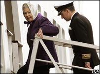 The Queen boards the vessel