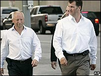 Giles Darby (left) and Gary Mulgrew arrive at the Houston court