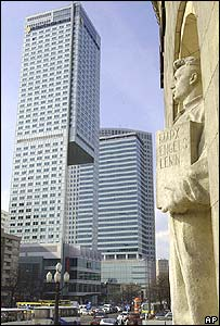 Skyscrapers next to statues depicting Communist past