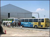 Coaches which have brought evacuees from Limassol port
