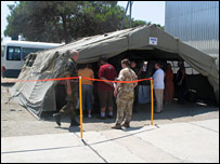 """The """"processing cell"""" tent for paperwork"""