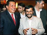 Venezuelan President Hugo Chavez with Iranian President Mahmoud Ahmadinejad