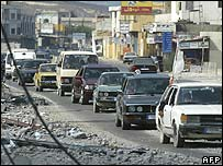 Traffic jam in Lebanese town of Sidon