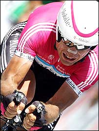 Serhiy Honchar shows the strain during his time-trial on Saturday