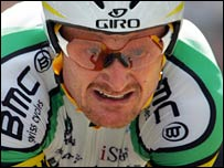 Floyd Landis shows his determination during Saturday's time-trial