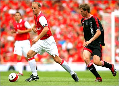 Dennis Bergkamp in action against Ajax