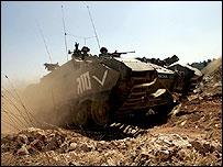 Israeli tank entering Lebanon