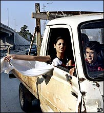 Fleeing Lebanese civilians