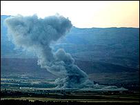 Plume of smoke left by Israeli air strike near Baalbek, Lebanon