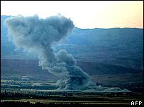 Bombardeo israelí en Líbano.