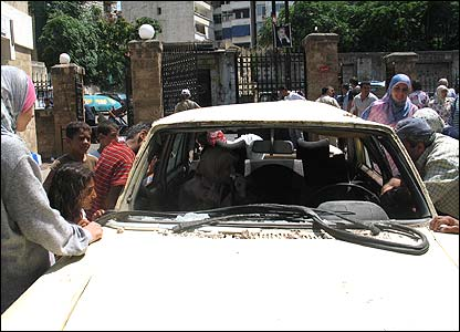 Car damaged by Israeli strike, Beirut, Lebanon