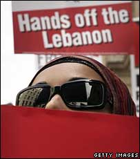Woman at the pro-Lebanon rally on Saturday
