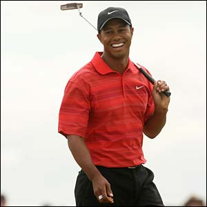 Tiger Woods is all smiles