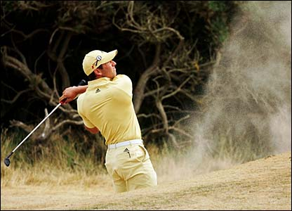 Sergio Garcia plays a shot out of a bunker