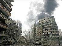Sur de Beirut, zona de bombardeo israelí