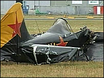 The wreckage of the Yak-52 plane