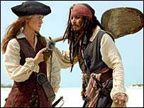 Keira Knightley and Johnny Depp in Pirates of the Caribbean: Dead Man's Chest