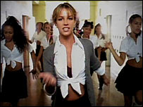 A still from Britney Spears' Baby One More Time video