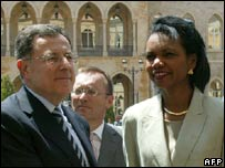 Fouad Siniora and Condoleezza Rice