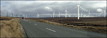 Predicted view of the wind farm from the A857 Barvas moor