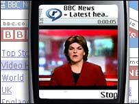 A video headlines summary on a phone