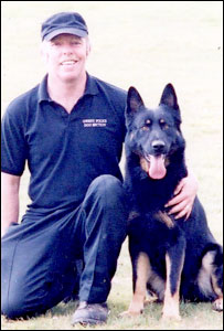 Saxon with handler, Mike Townley