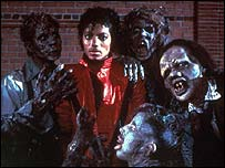 Michael Jackson with friends in the Thriller video