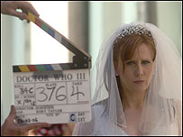 Catherine Tate during filming