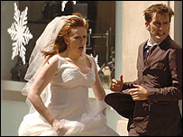 Catherine Tate and David Tennant filming in Cardiff