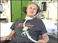 Matt Hampson in hospital