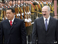 Hugo Chavez and Victor Lukashenko in Minsk