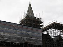 Scaffolding on Town church