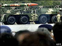 Pakistani spectators watching a Hatf II {Abdali} missile