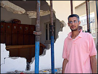 Hazem Ali outside his house in Gaza, Beit Hanoun