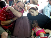 A British family in Cyprus waiting to be flown to England