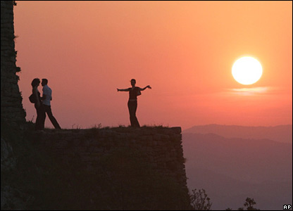 Young people at sunset near the Bosnian town of Srebrenik