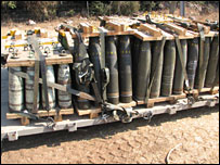 Pallets of 155mm artillery projectiles including DPICM cluster munitions in the arsenal of an IDF artillery unit in northern Israel, credit: Human Rights Watch