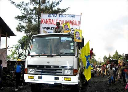 Campaign trucks in Goma