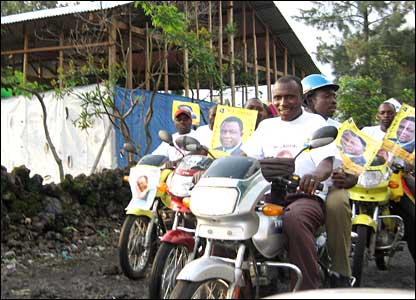 Campaigners on motorbikes in Goma