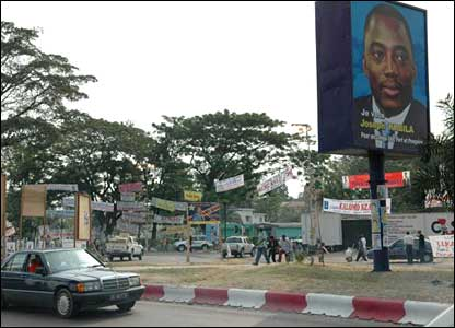 A poster of Kabila in Kinshasa