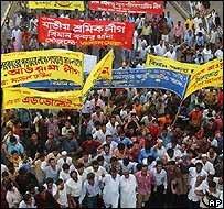Bangladesh protesters take to the streets on Tuesday
