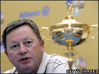Welsh golfer Ian Woosnam with the Ryder Cup