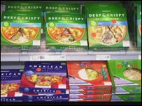 Supermarket shelves (BBC)