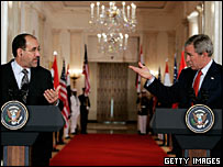 Iraqi PM Nouri Maliki with President George Bush