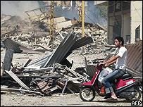 Destrucción en el sur de Beirut