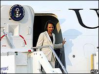 Condoleeza Rice, secretaria de Estado de EE.UU., llegando a Roma