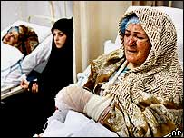 Injured women in Beirut hospital