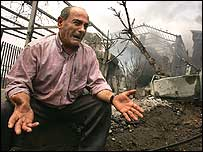 Lebanese man weeping over the loss of his friend
